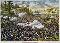 Battle of Chickamauga - Lithograph by Kurzand Allison (1890)