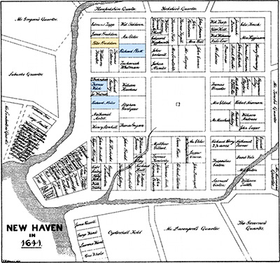 New Haven CT Map of the Nine Squares -DPR-ANCESTORS-MARKED